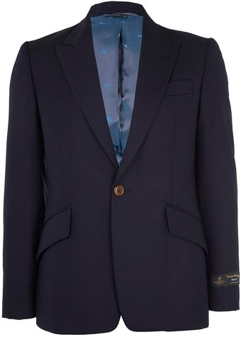 Vivienne Westwood Man Navy Single Breasted Slimfit Wool Blazer - Lyst