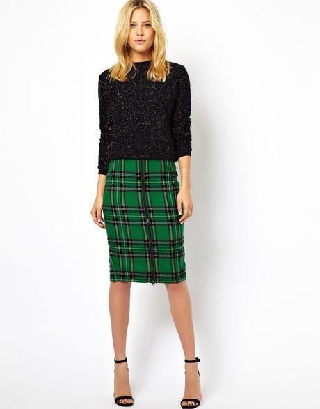asos check pencil skirt with bead embellishment in green