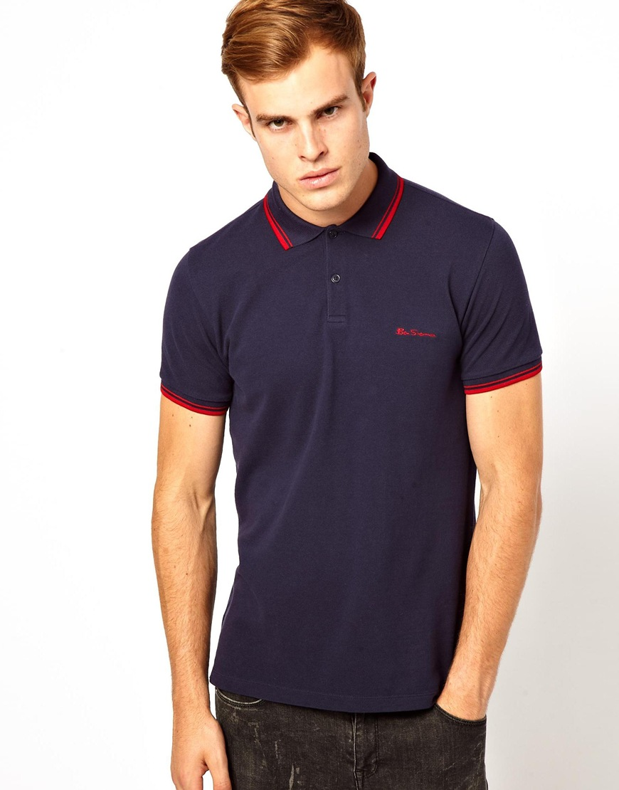 lyst asos ben sherman polo with tipped collar cuff in blue for men. Black Bedroom Furniture Sets. Home Design Ideas