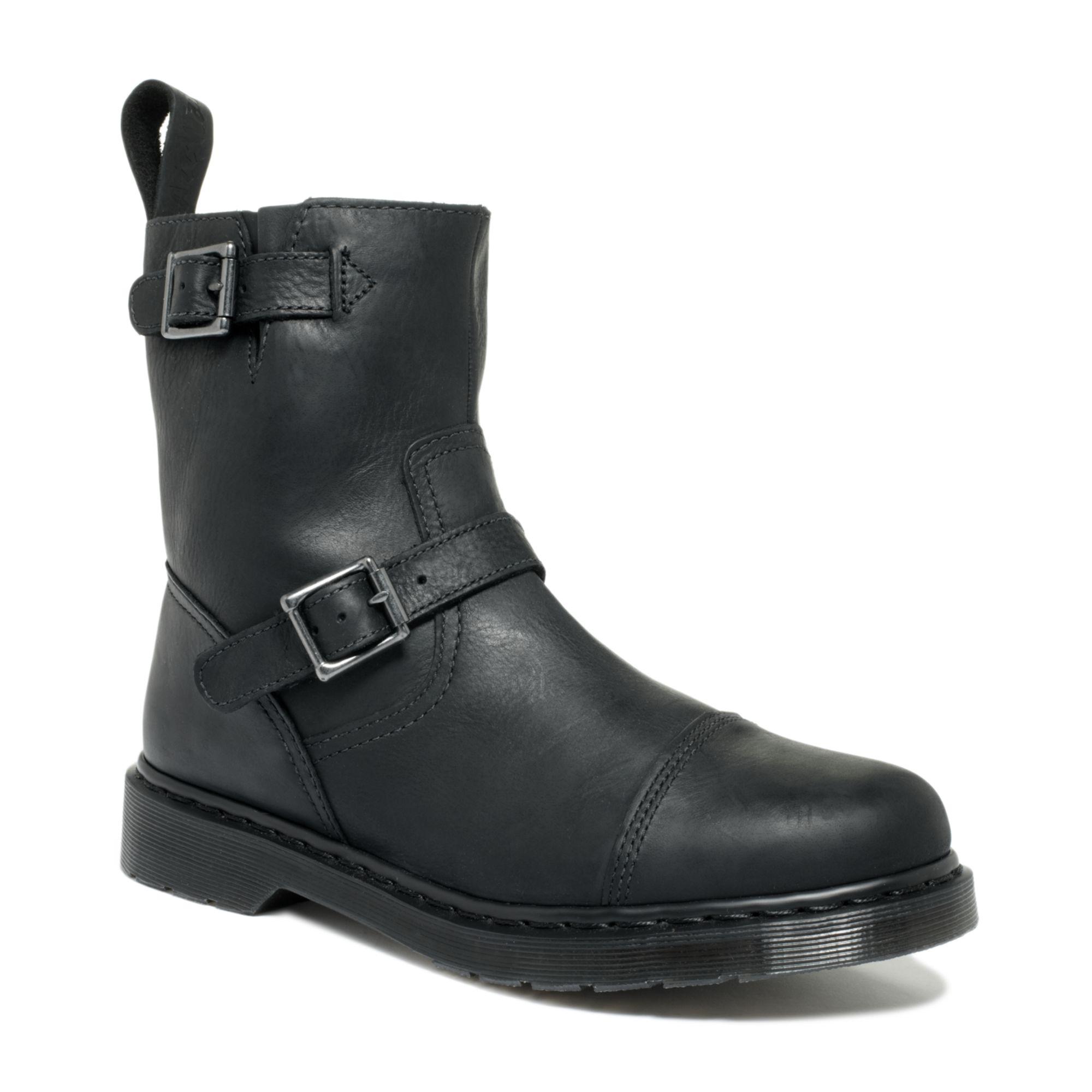 Dr. martens Asher Low Biker Boots in Black for Men