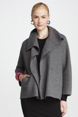 Eileen Fisher Wool Shawl Coat Petite - Lyst