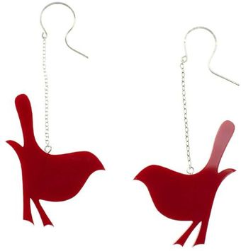 Emma Guest Jewellery Silver Bird Chain Earrings Red - Lyst