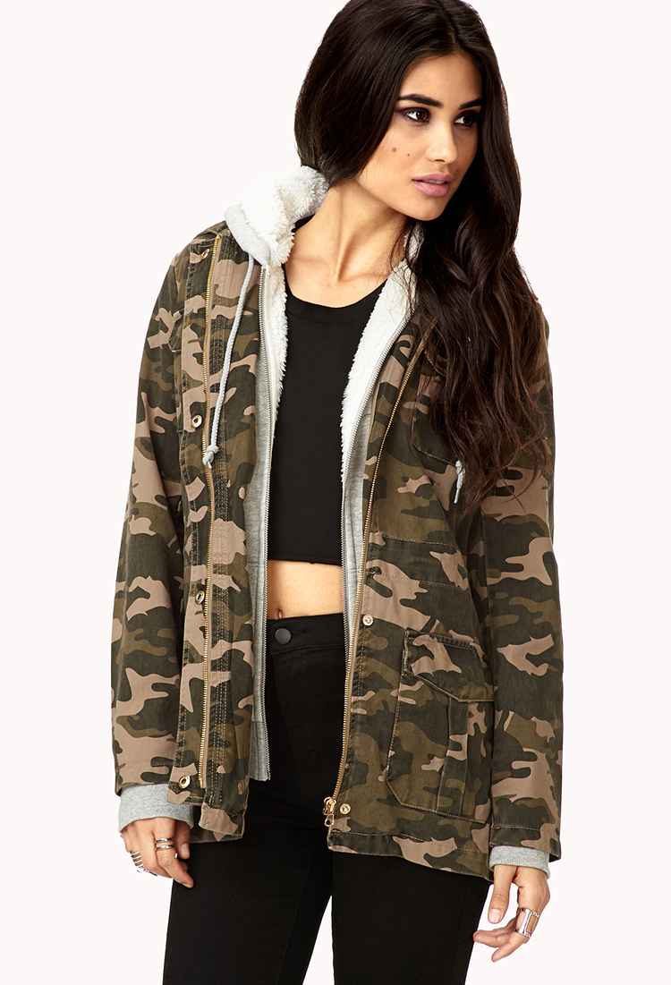 Forever 21 Laid Back Camo Jacket In Green | Lyst