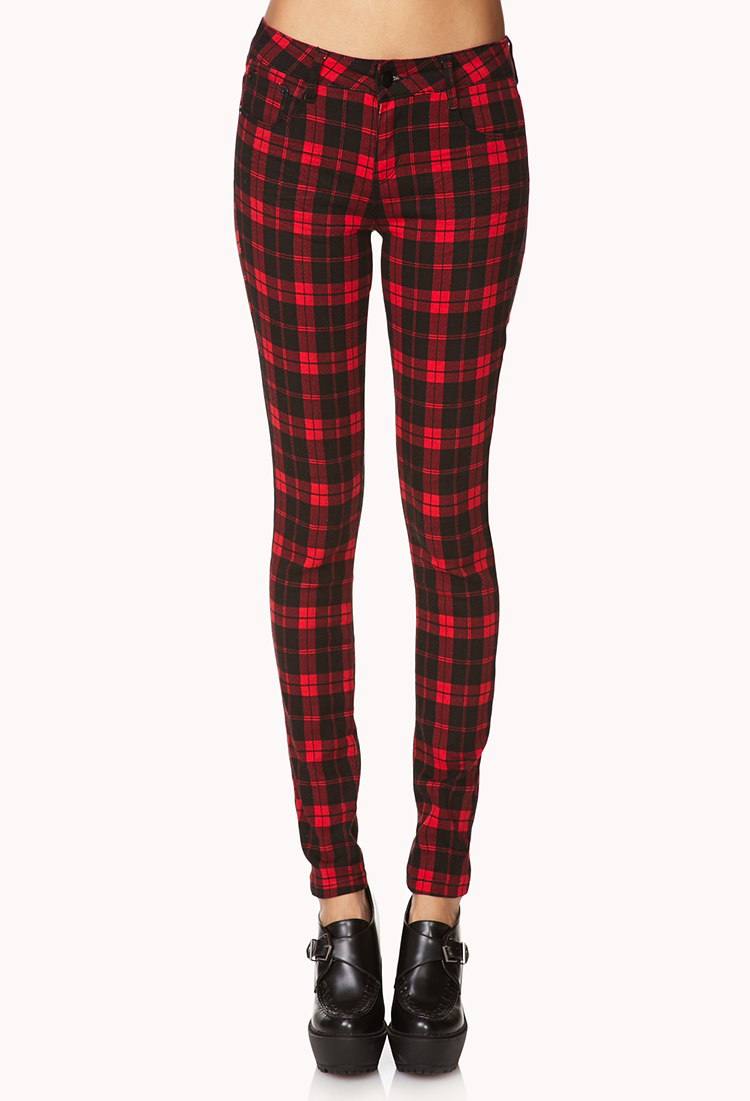 65b37711c286 Forever 21 Plaid Skinny Jeans in Red - Lyst
