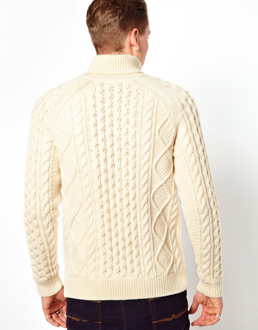 Lyst Asos Aran Roll Neck Sweater In White For Men