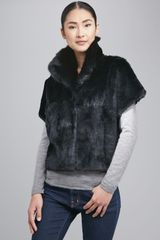 Jocelyn Sheared Rabbit Fur Bolero Black - Lyst