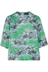 Jonathan Saunders Abbey Lace Print Satin Top - Lyst