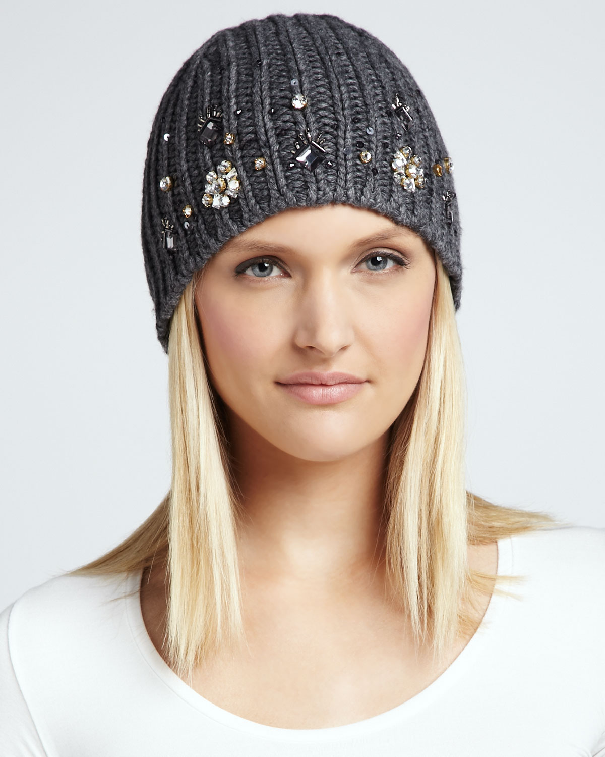 2eaadb7ab4a Lyst - Kate Spade Embellished Knit Hat Heather Gray in Gray