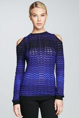 M Missoni Coldshoulder Zigzag Sweater - Lyst