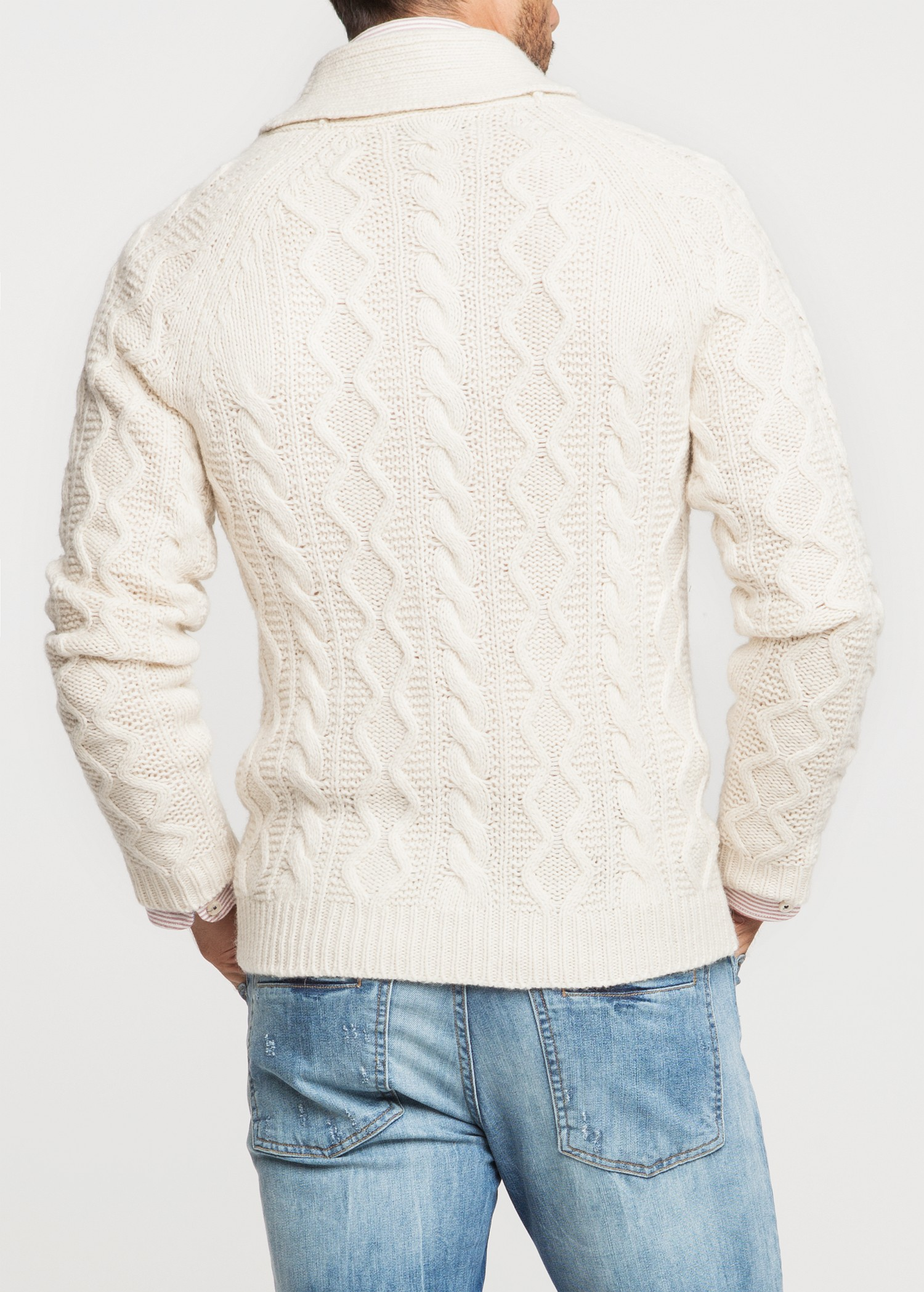 Mango Shawl Collar Cableknit Cardigan In White For Men