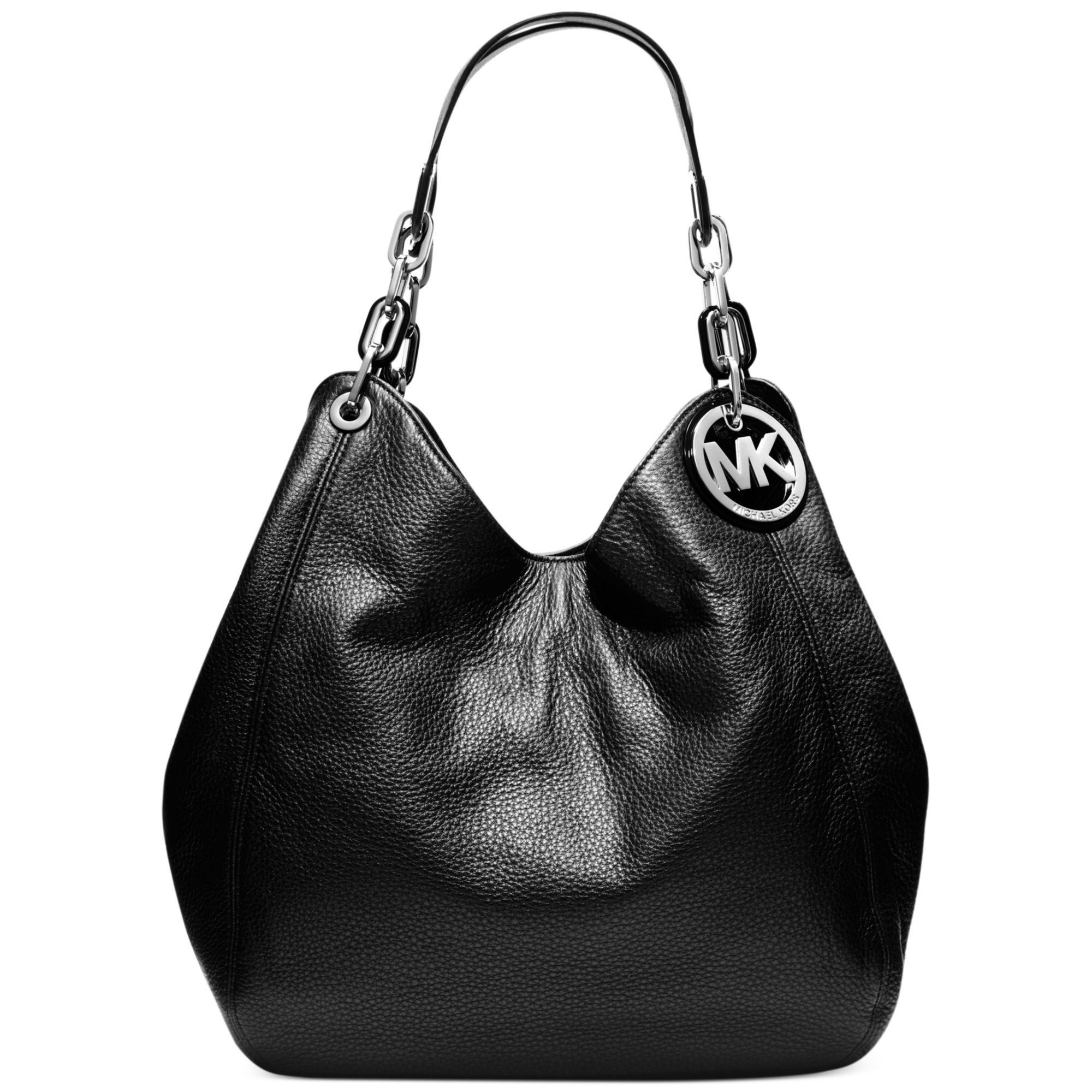 lyst michael kors fulton large shoulder tote in black rh lyst com