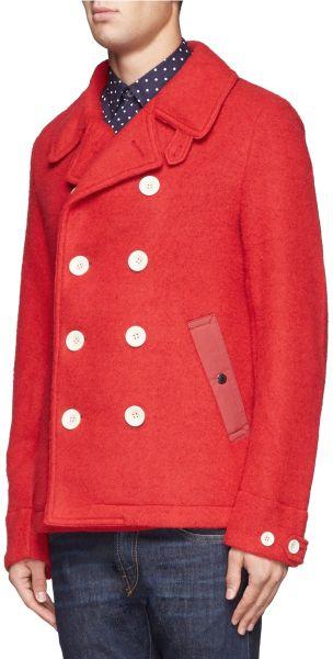 Nanamica Knitted Fleece Coat In Red For Men Lyst