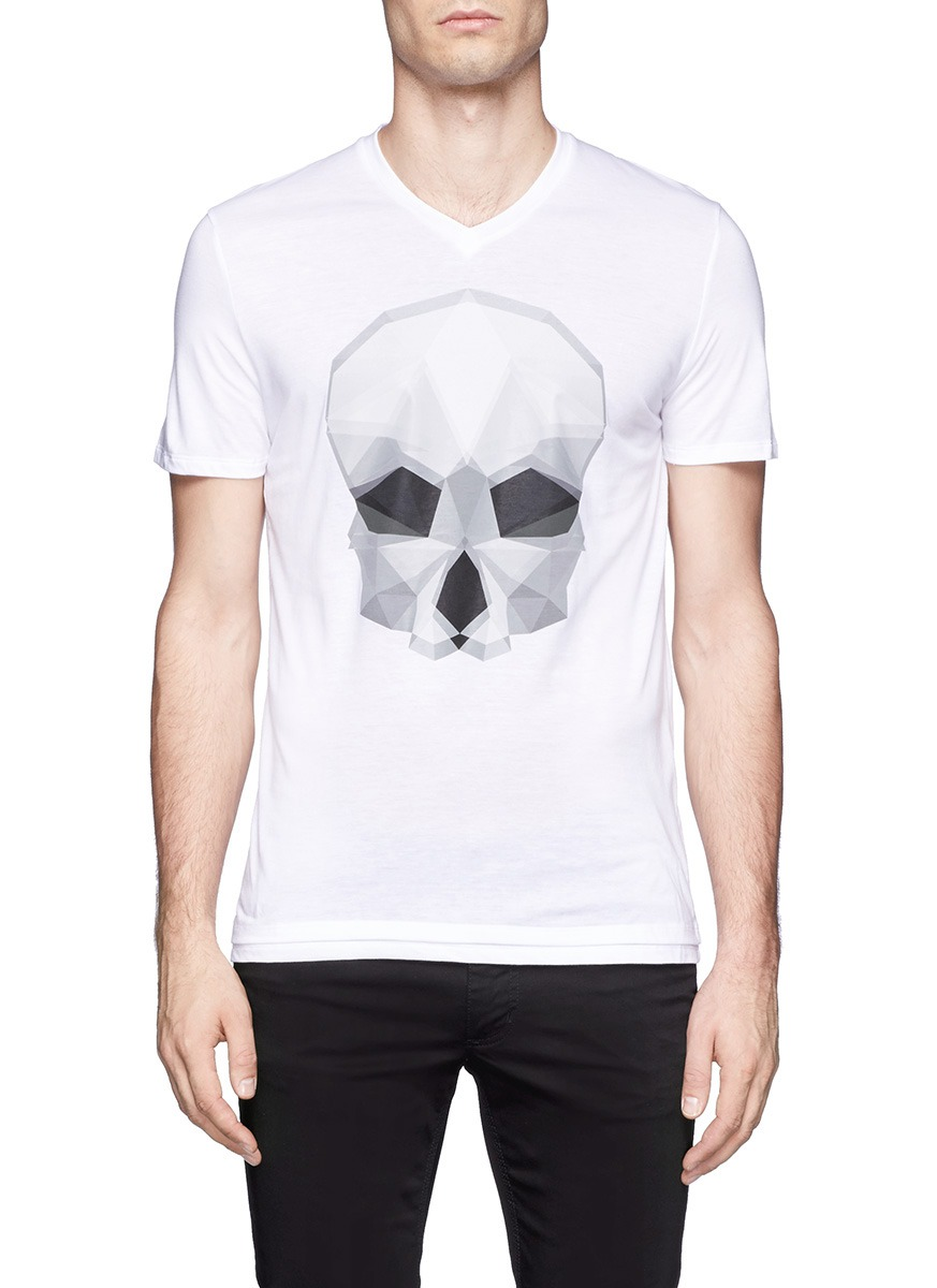 Neil Barrett Geometric Skull Printed T-shirt in White for ...