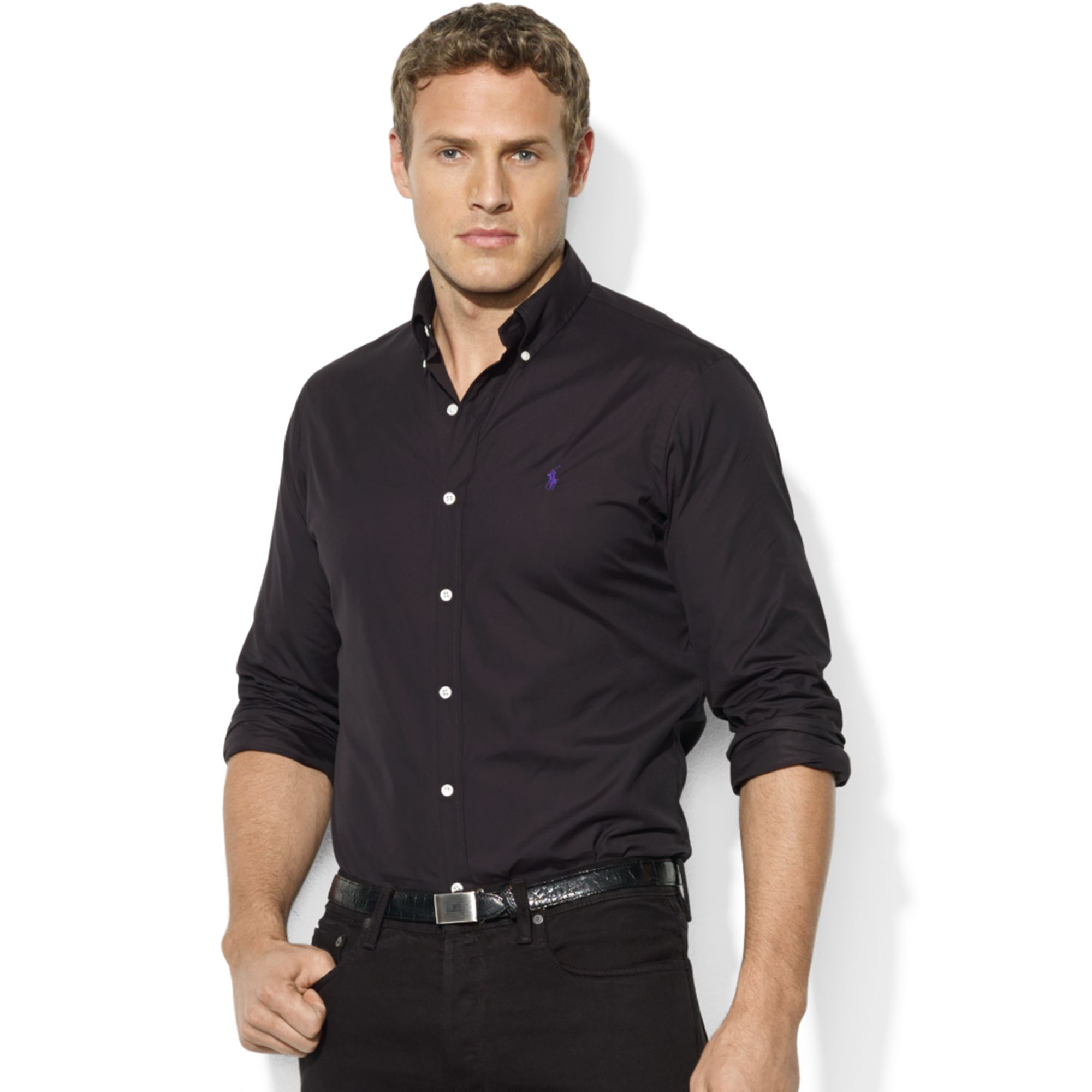 lyst ralph lauren classicfit longsleeve sueded poplin shirt in black for men. Black Bedroom Furniture Sets. Home Design Ideas