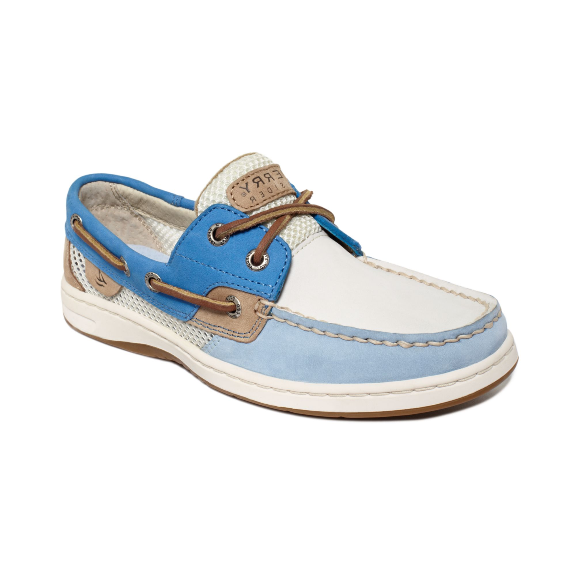 sperry top sider bluefish boat shoes in white blue white