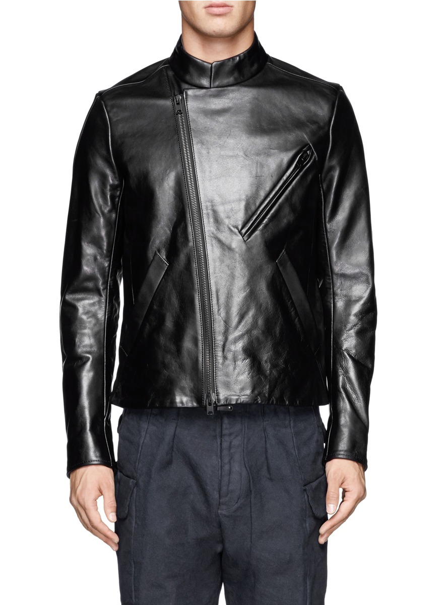 The Viridi Anne Asymmetrical Collar Leather Jacket In