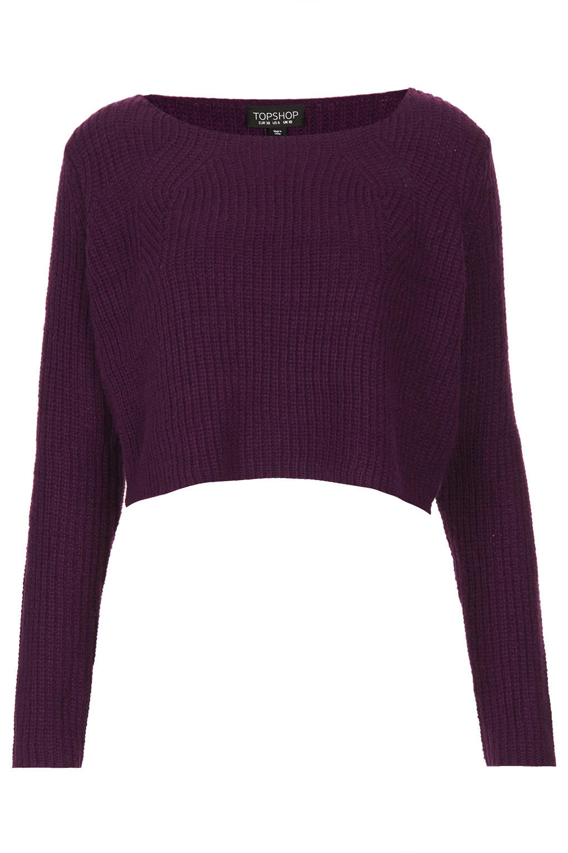 Topshop Knitted Clean Rib Crop Jumper in Purple | Lyst