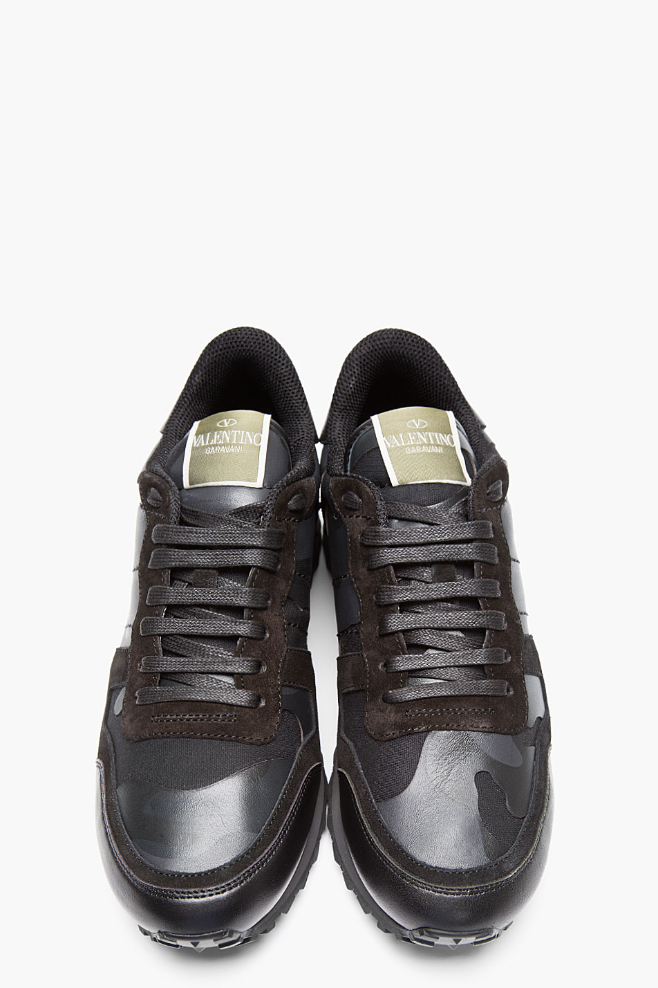 Valentino Black Leather Camo Print Sneakers In Black For