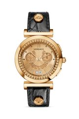 Versace Vanity Chronograph Round Rose Gold Pvd Watch with Golden Sunray Dial 40mm - Lyst
