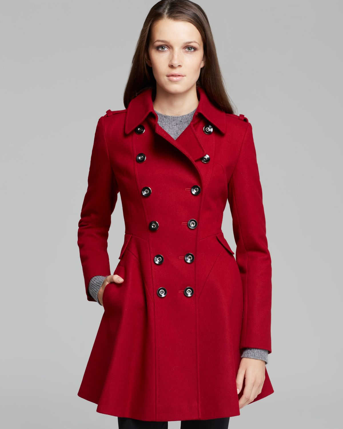 Via spiga Coat - Double-breasted Wool in Red | Lyst