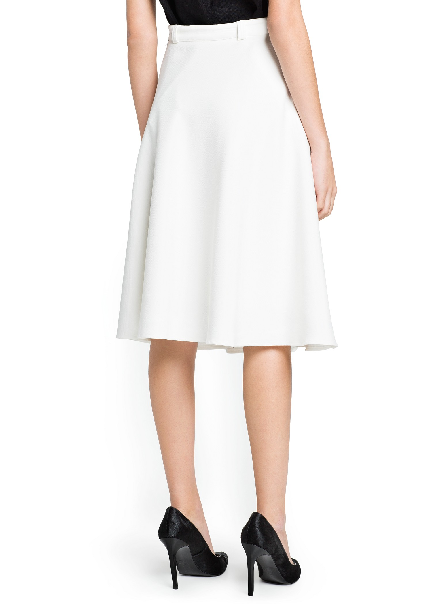Mango Texture Flared Skirt in White | Lyst