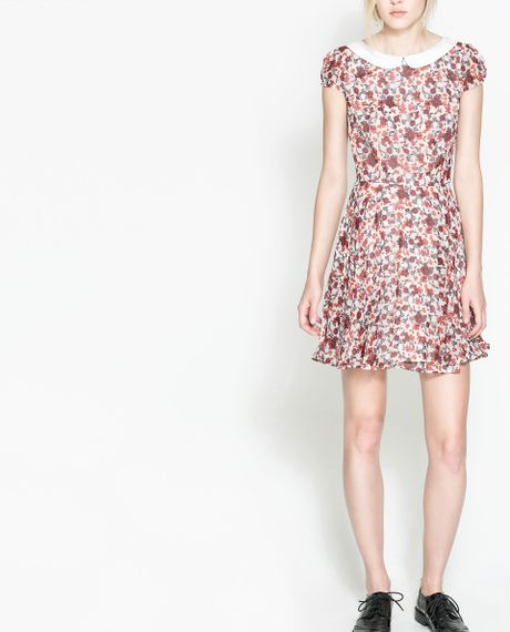 Zara Floral Print Dress in Purple (Wine) - Lyst