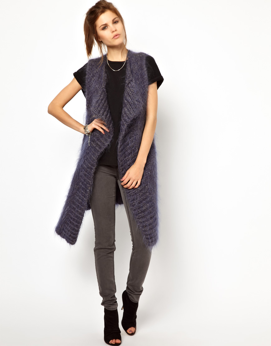 Asos 2nd Day Mohair Long Sleeveless Cardigan in Gray | Lyst