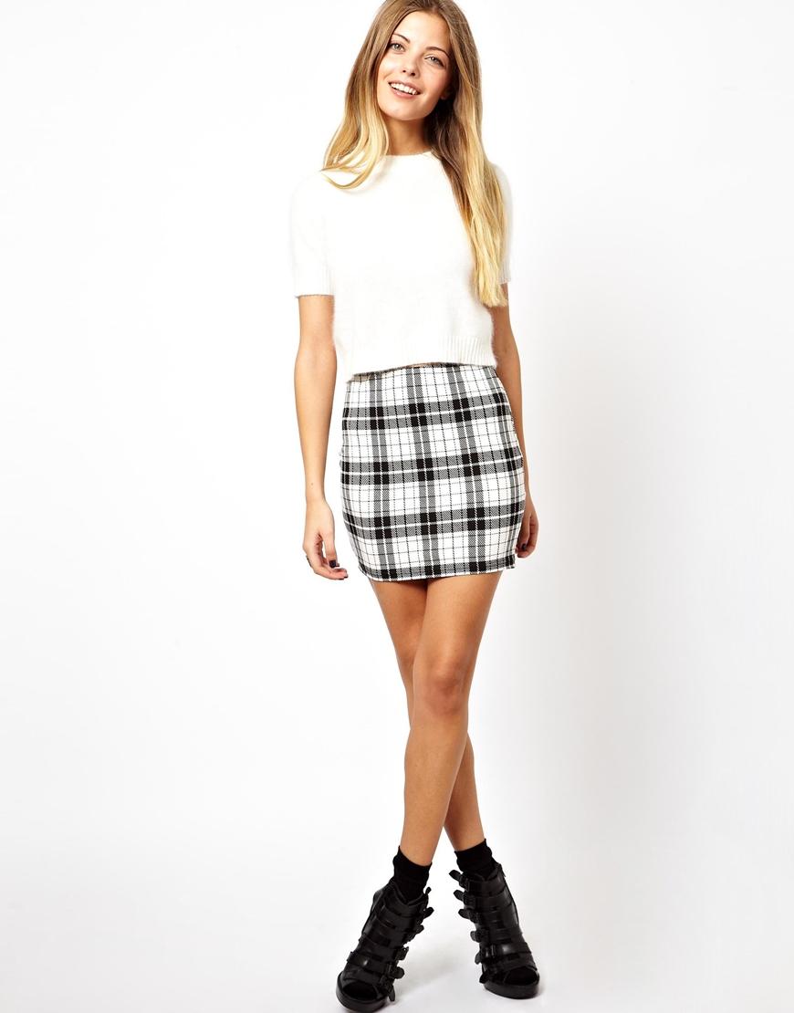 89a11934a5 ASOS Mini Skirt in Check Print - Lyst