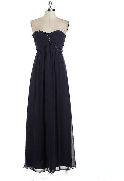 Calvin Klein Embellished Chiffon Strapless Evening Gown In