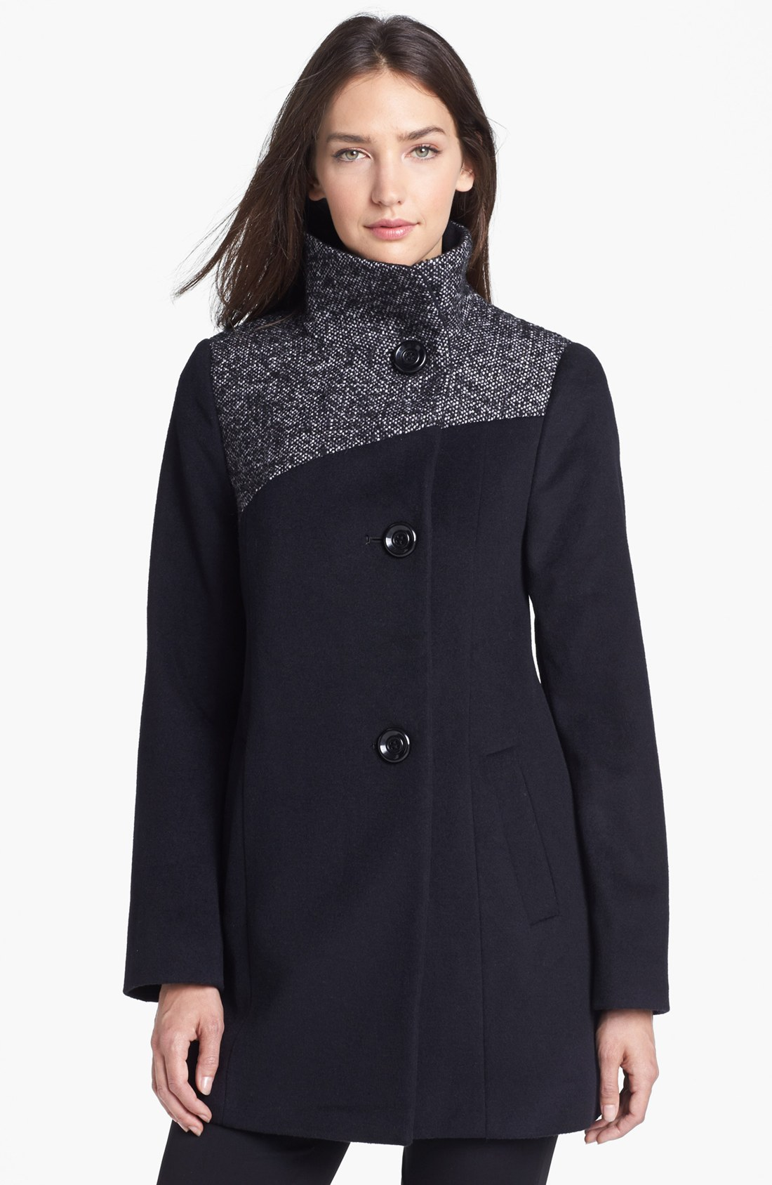 Ellen Tracy Contrast Yoke Wool Blend Coat In Black Lyst