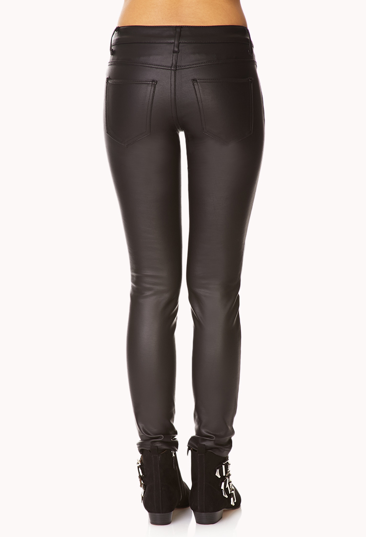 New Forever 21 Faux Leather Leggings In Black  Lyst