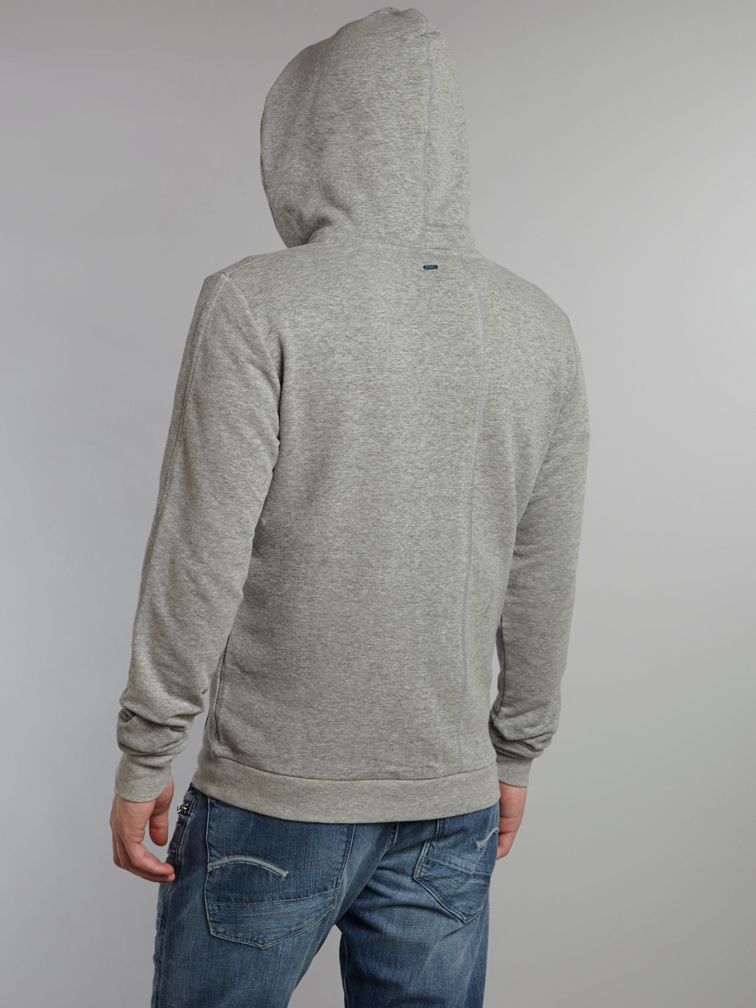 g star raw carvell zip through hoodie in gray for men lyst. Black Bedroom Furniture Sets. Home Design Ideas
