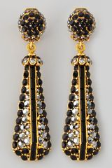Jose & Maria Barrera Black Pave Crystal Goldplate Drop Earrings