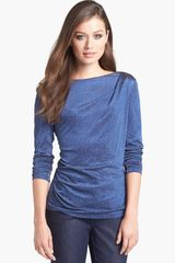 Lafayette 148 New York Starlight Pleat Shoulder Top - Lyst
