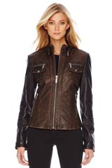 Michael by Michael Kors Colorblock Leather Jacket - Lyst