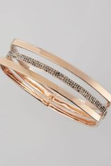 Rebecca Minkoff Rose Goldplate Pave Triangle Bangle Set Of 3 - Lyst