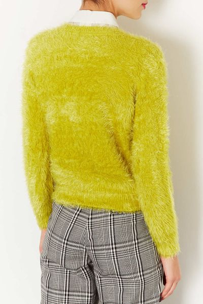 Topshop Knitted Fluffy Crew Jumper in Yellow (CHARTREUSE) Lyst