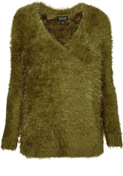 Knitting Pattern Fluffy Jumper : Topshop Knitted Fluffy V Neck Jumper in Green (OLIVE) Lyst