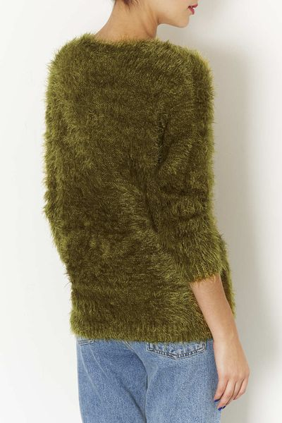 Knitting Pattern Fluffy Jumper : Topshop Knitted Fluffy V Neck Jumper in Green (OLIVE) Lyst