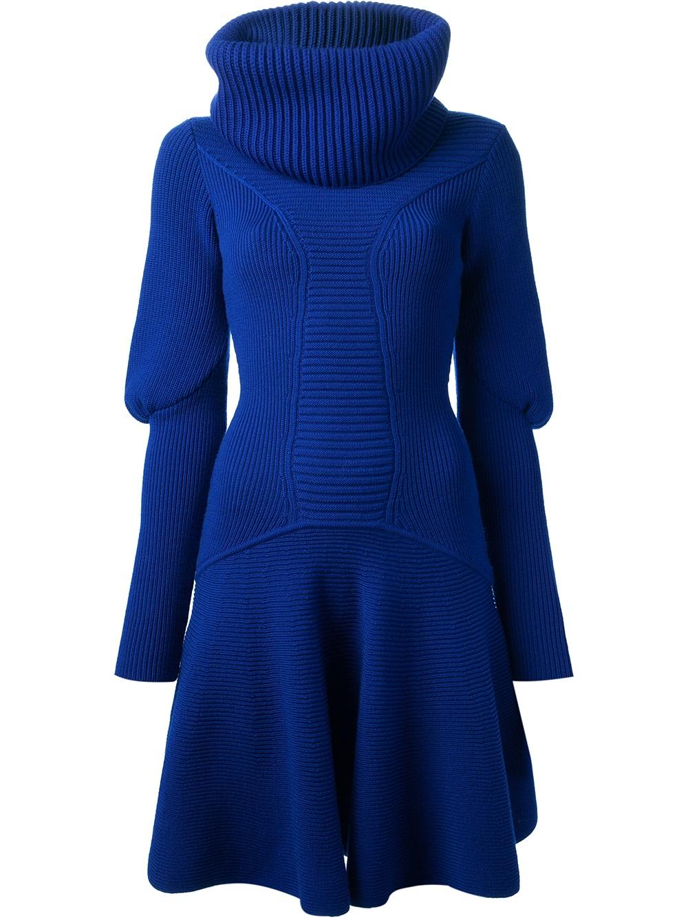 Lyst Alexander Mcqueen Sweater Dress In Blue