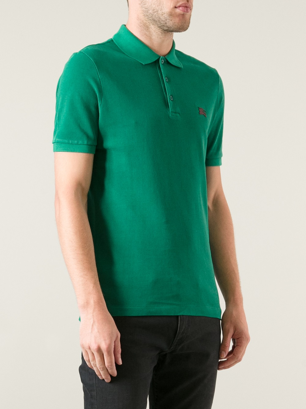 Burberry brit logo polo shirt in green for men lyst for Burberry brit green plaid shirt