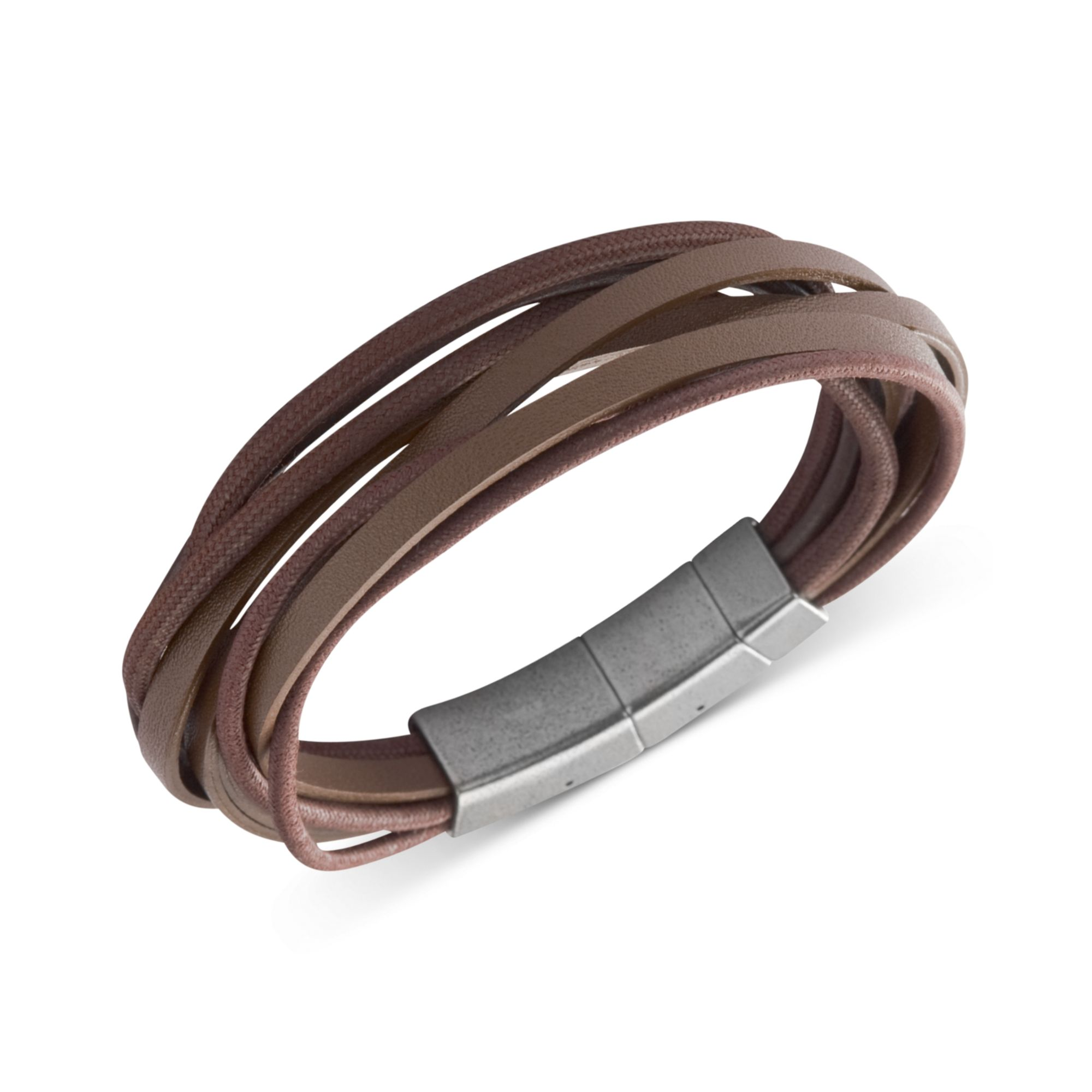 Lyst Fossil Stainless Steel Brown Leather Multistrand Wrap