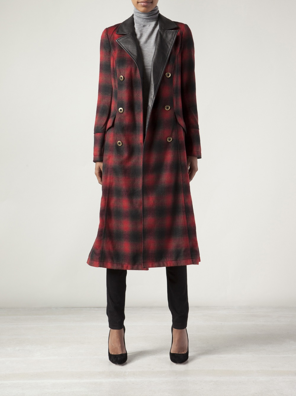 Lyst Free People Plaid Maxi Sergeant Coat In Red