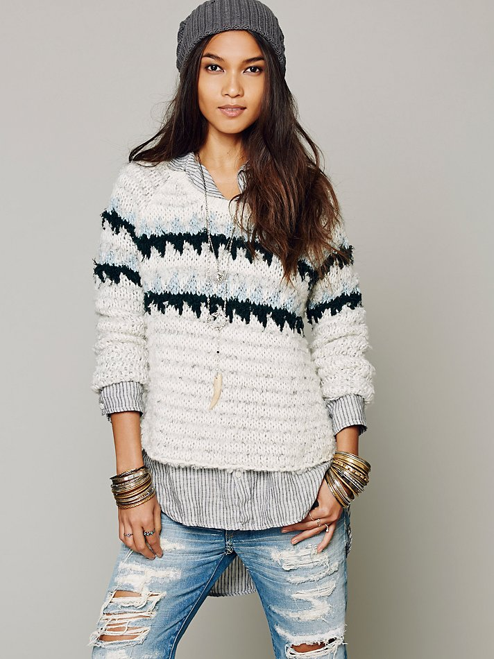 Free people Fuzzy Fairisle Pullover in Black | Lyst