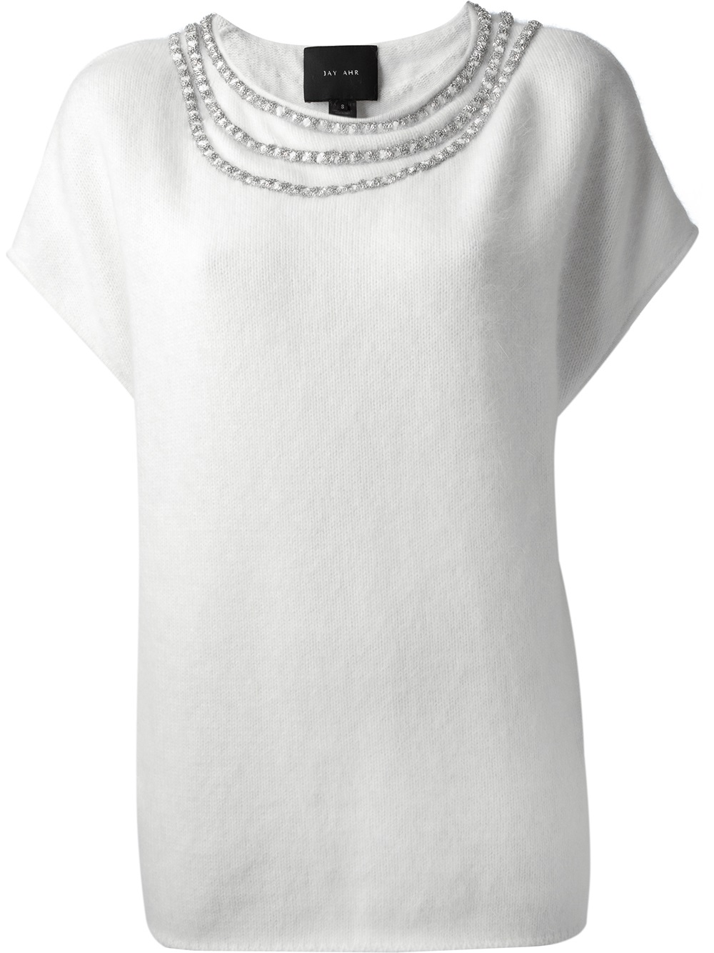 Jay ahr Short Sleeve Sweater in White | Lyst