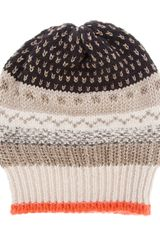 Laneus Striped Beanie - Lyst
