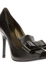 Lanvin Lizard Skin Effect Bow Pump - Lyst