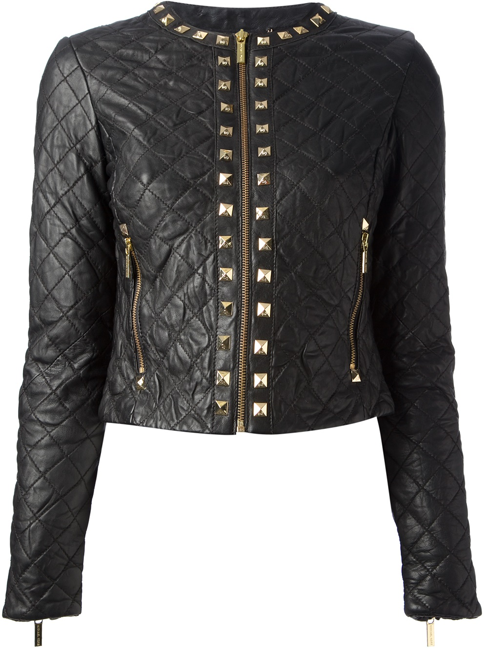 Michael Michael Kors Cropped Quilted Jacket In Black Lyst