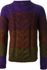 Paul Smith Striped Cable Knit Sweater - Lyst