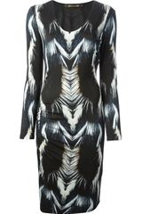 Roberto Cavalli Fur Print Fitted Dress - Lyst